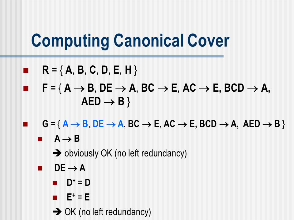 Computing Canonical Cover