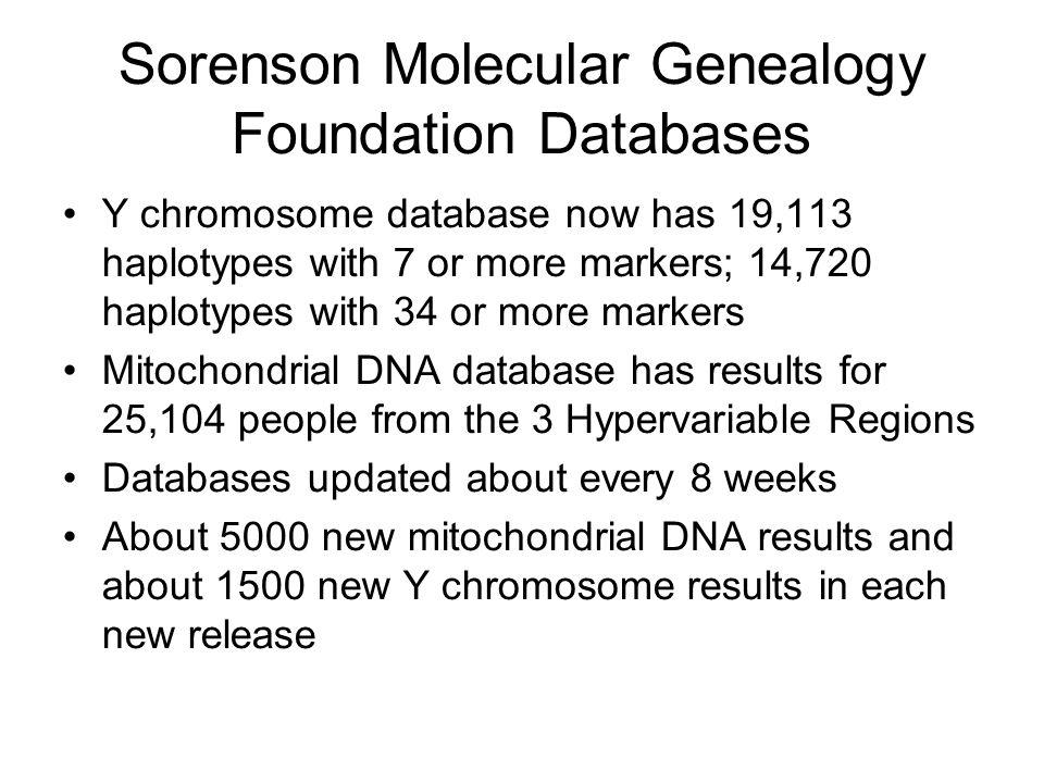 Sorenson Molecular Genealogy Foundation Databases