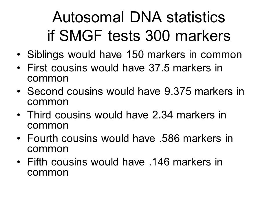 Autosomal DNA statistics if SMGF tests 300 markers