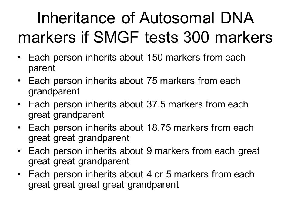 Inheritance of Autosomal DNA markers if SMGF tests 300 markers