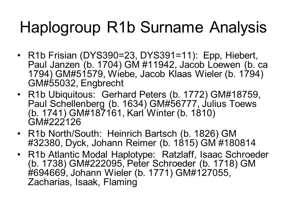 Haplogroup R1b Surname Analysis