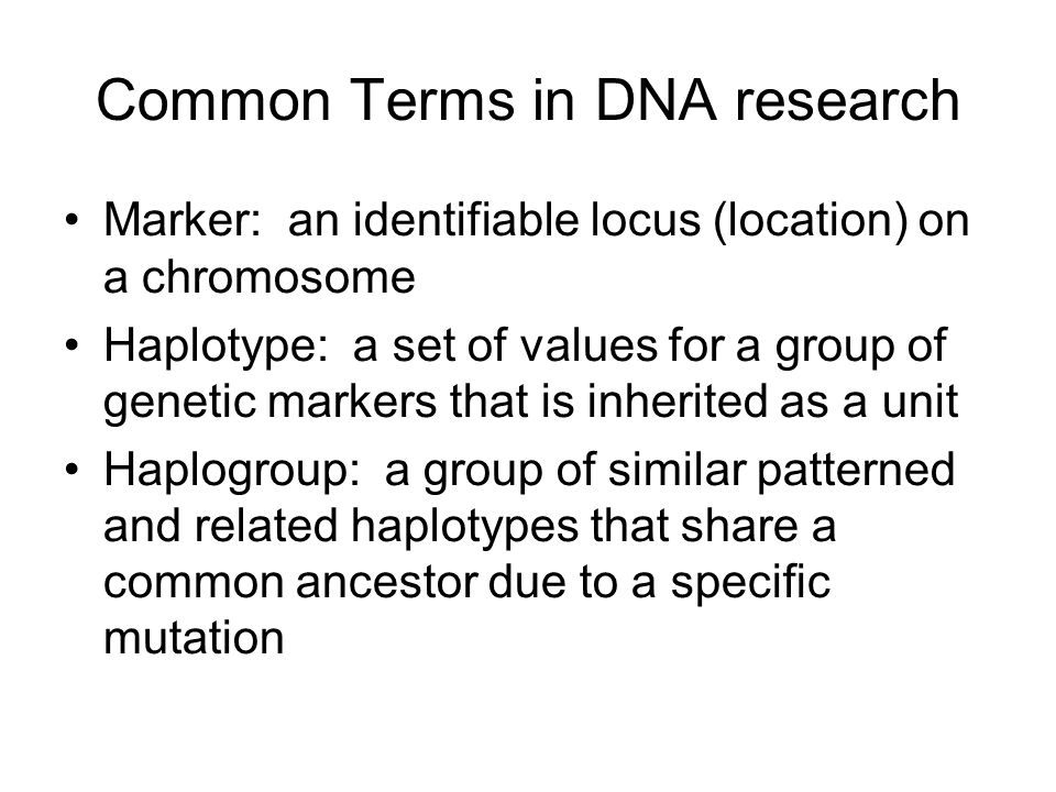 Common Terms in DNA research