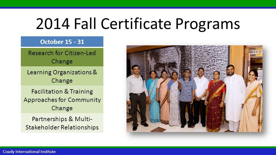 2014 Fall Certificate Programs