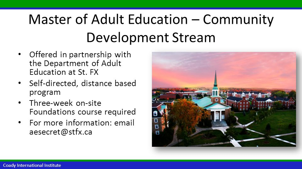 Master of Adult Education – Community Development Stream