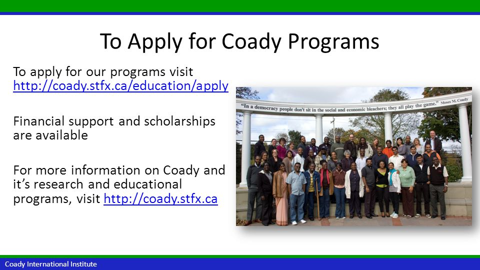 To Apply for Coady Programs