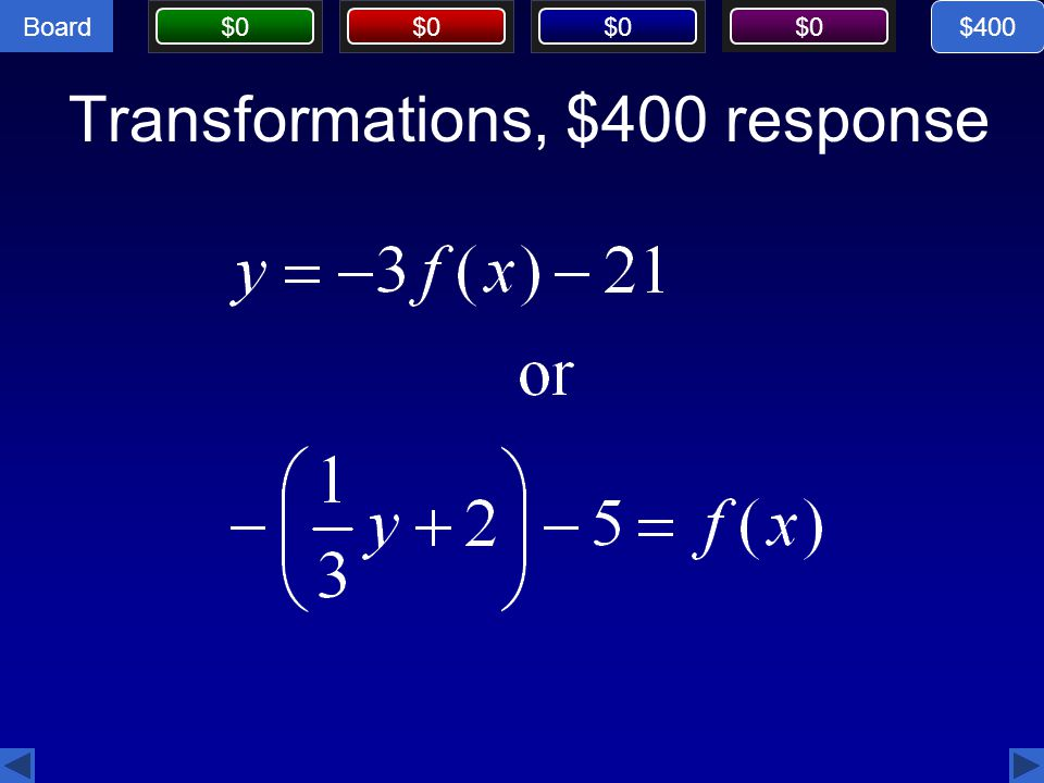 Transformations, $400 response
