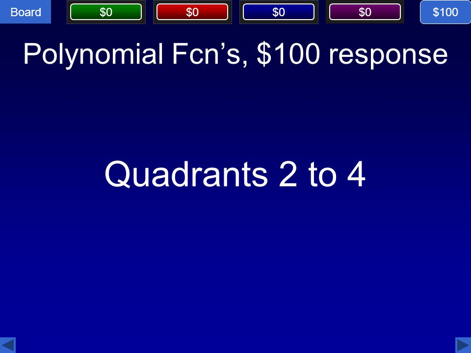 Polynomial Fcn's, $100 response