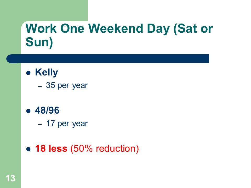 Work One Weekend Day (Sat or Sun)