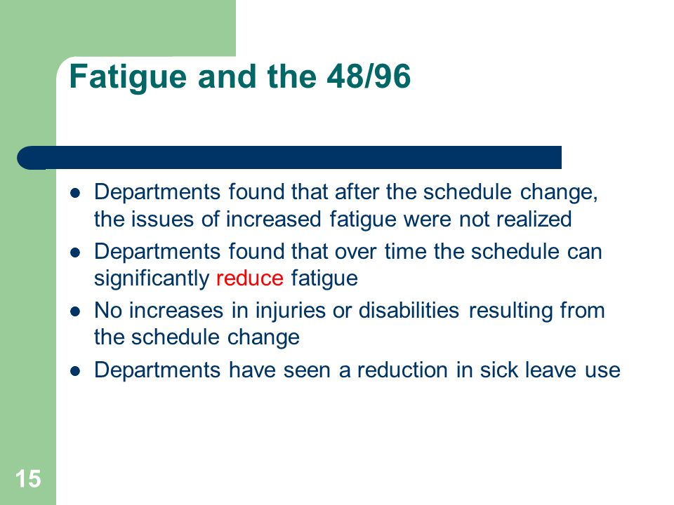Fatigue and the 48/96 Departments found that after the schedule change, the issues of increased fatigue were not realized.