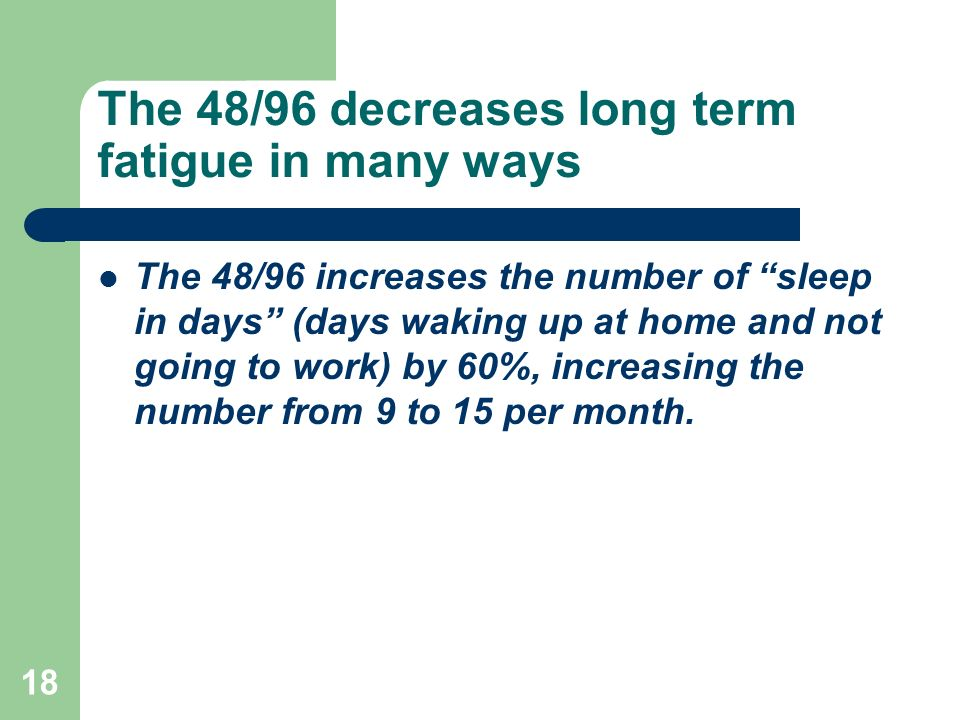 The 48/96 decreases long term fatigue in many ways