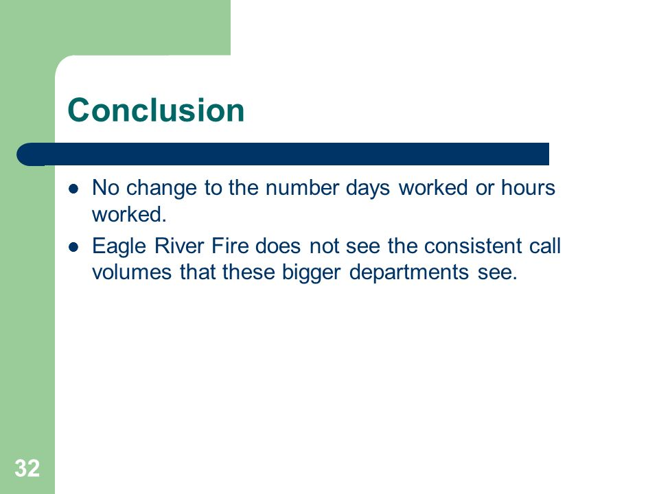 Conclusion No change to the number days worked or hours worked.