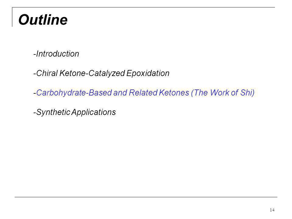 Outline -Introduction -Chiral Ketone-Catalyzed Epoxidation