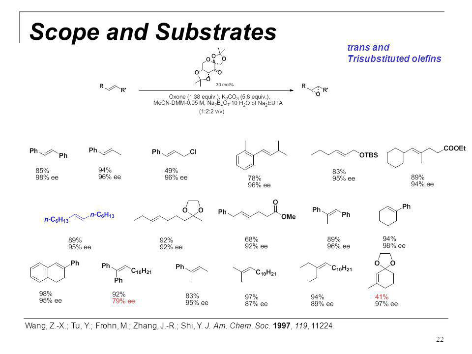 Scope and Substrates trans and Trisubstituted olefins