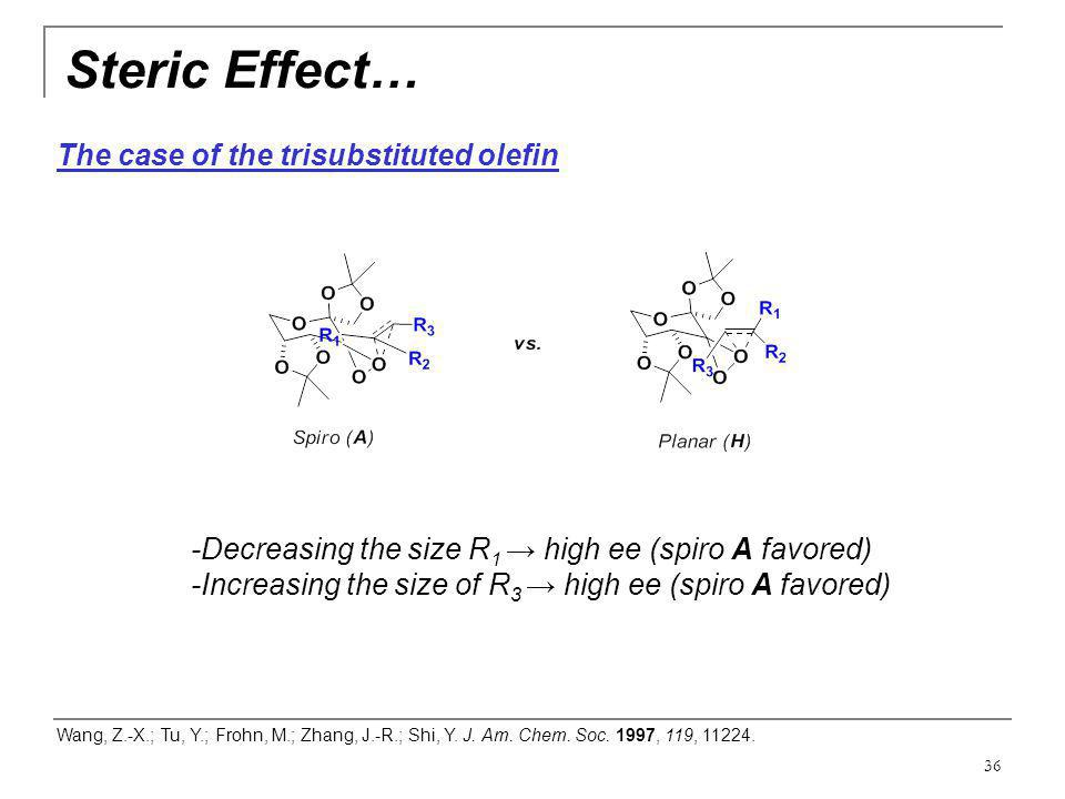 Steric Effect… The case of the trisubstituted olefin