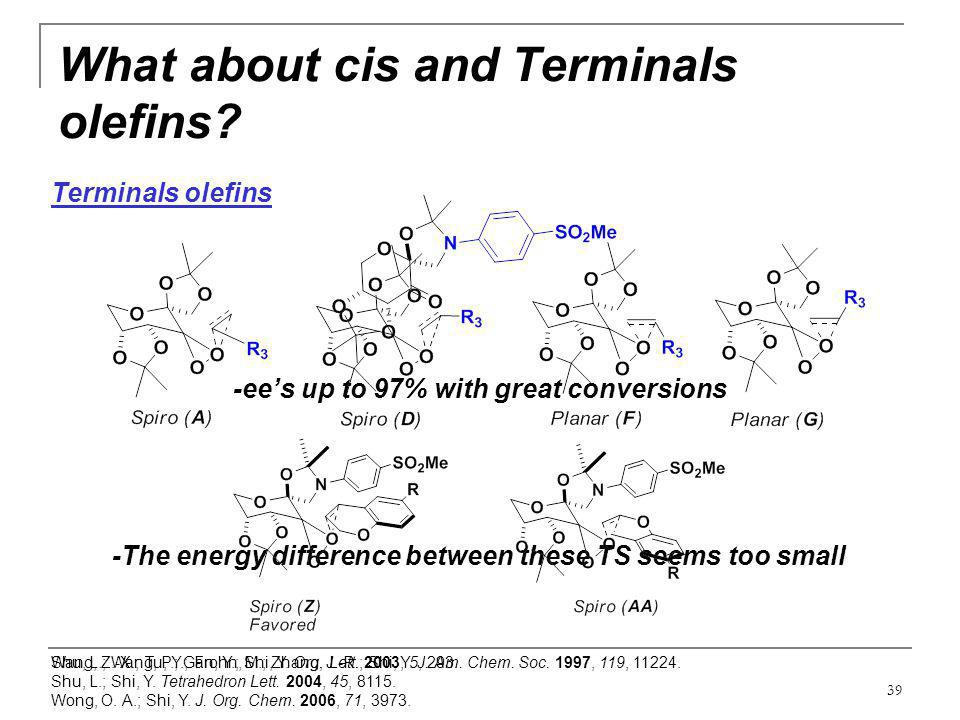 What about cis and Terminals olefins