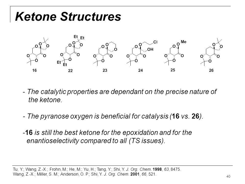 Ketone Structures The catalytic properties are dependant on the precise nature of. the ketone.