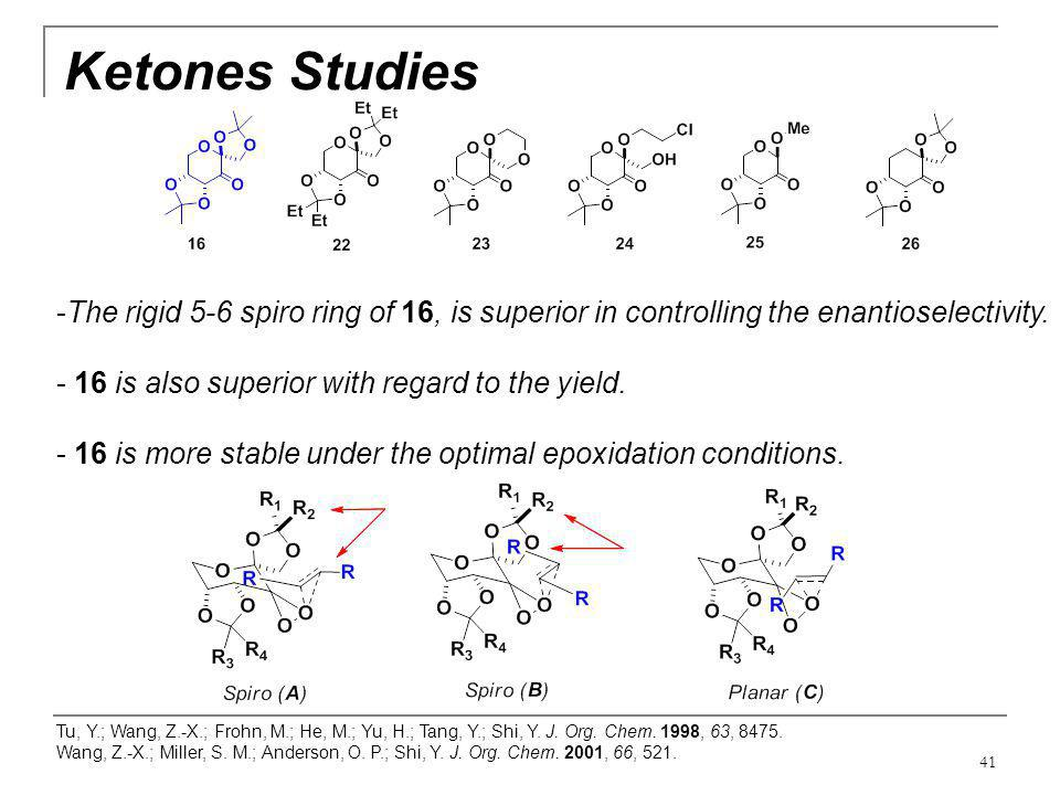 Ketones Studies The rigid 5-6 spiro ring of 16, is superior in controlling the enantioselectivity. 16 is also superior with regard to the yield.