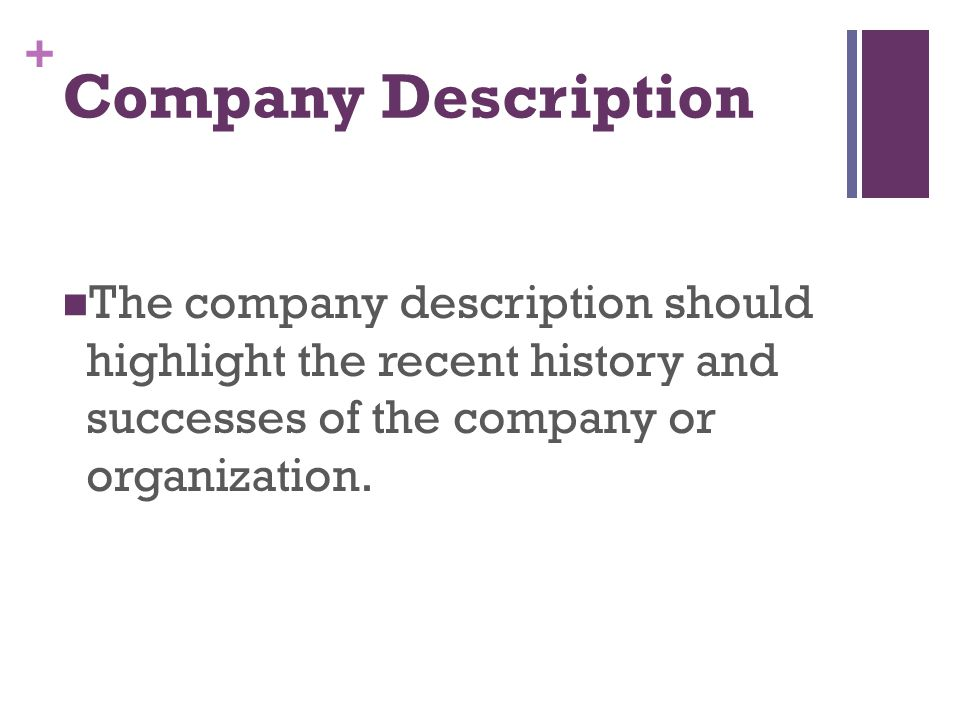 Company Description The company description should highlight the recent history and successes of the company or organization.