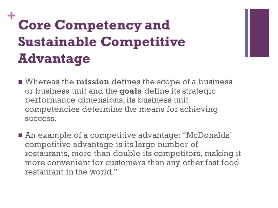 Core Competency and Sustainable Competitive Advantage