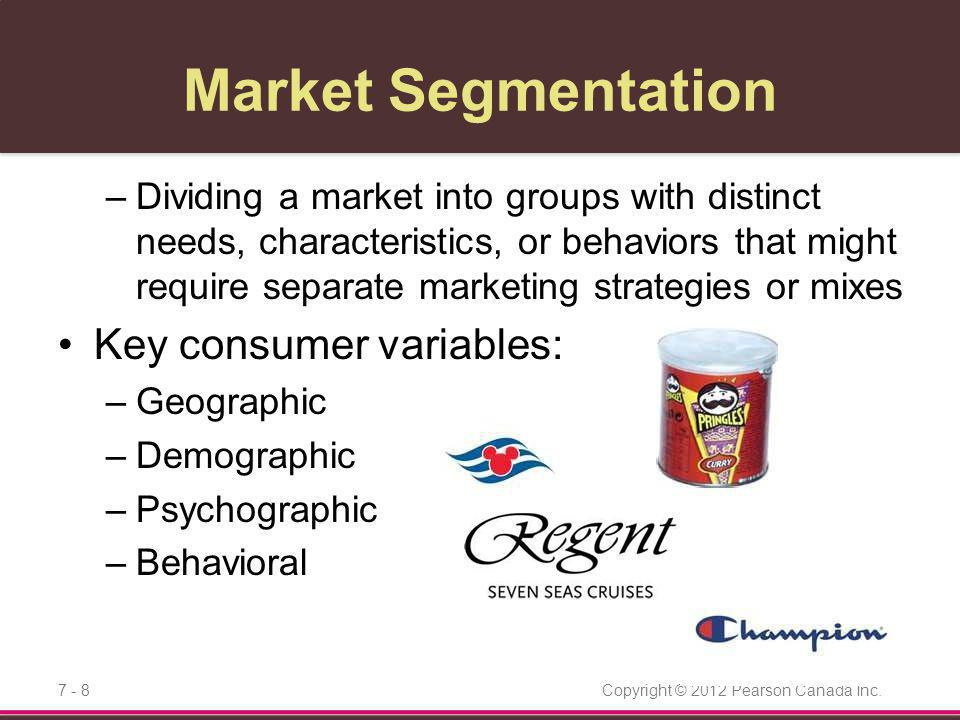 Market Segmentation Key consumer variables: