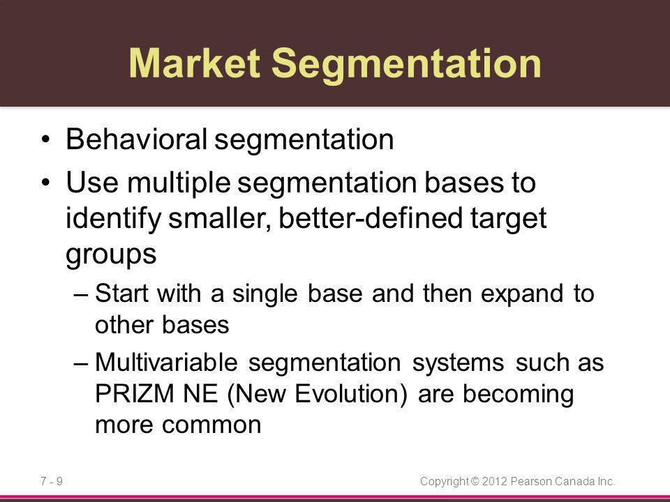 Market Segmentation Behavioral segmentation