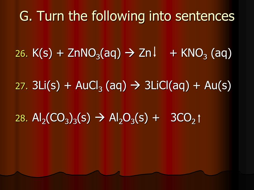 G. Turn the following into sentences