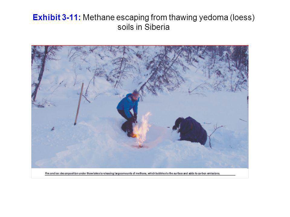 Exhibit 3-11: Methane escaping from thawing yedoma (loess) soils in Siberia