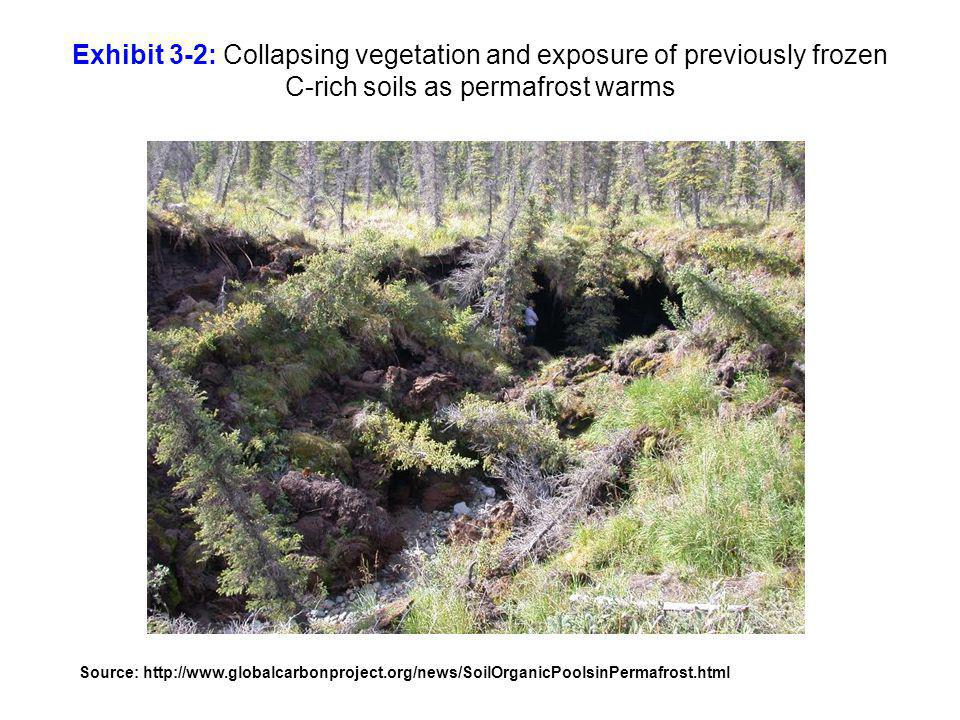 Exhibit 3-2: Collapsing vegetation and exposure of previously frozen C-rich soils as permafrost warms