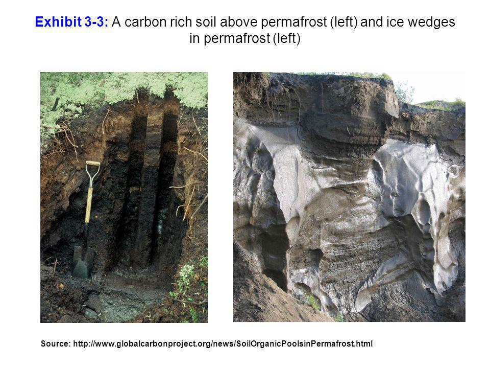Exhibit 3-3: A carbon rich soil above permafrost (left) and ice wedges in permafrost (left)
