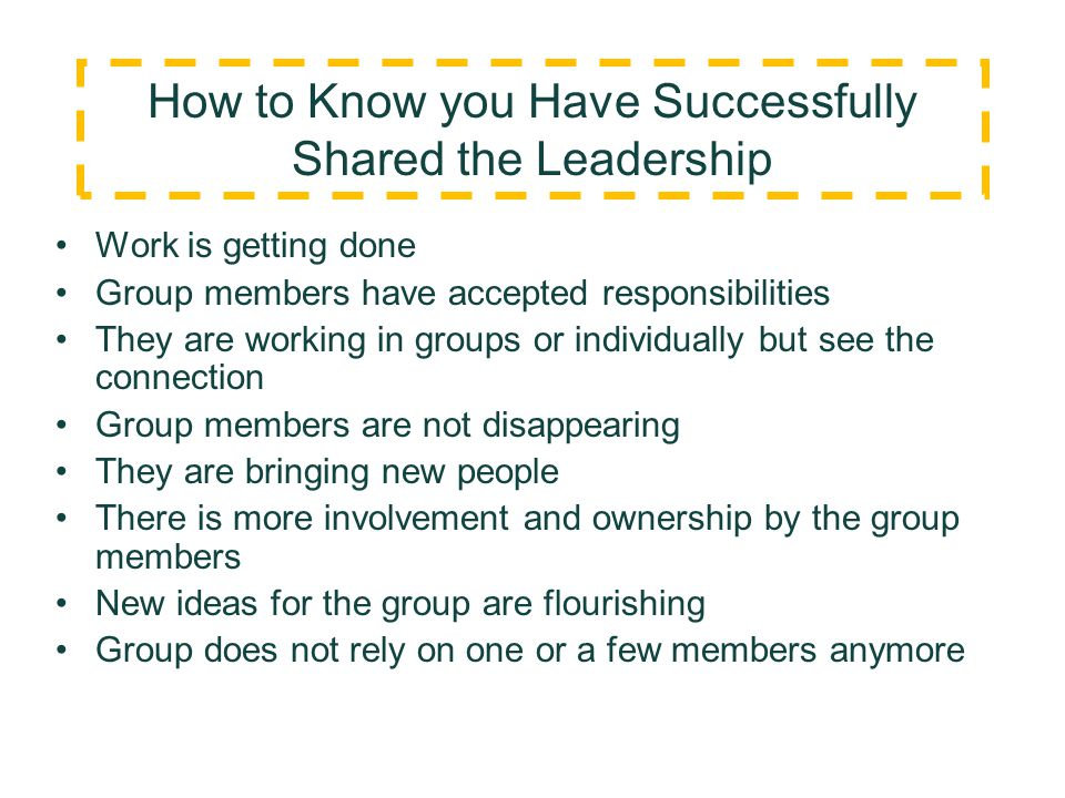 How to Know you Have Successfully Shared the Leadership