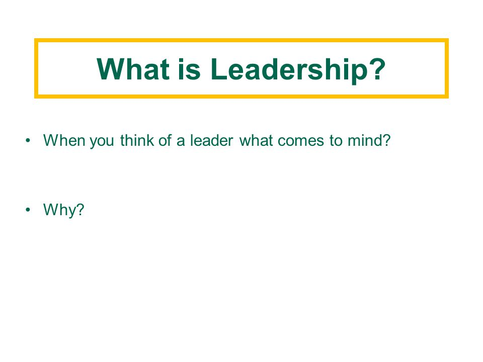 What is Leadership When you think of a leader what comes to mind