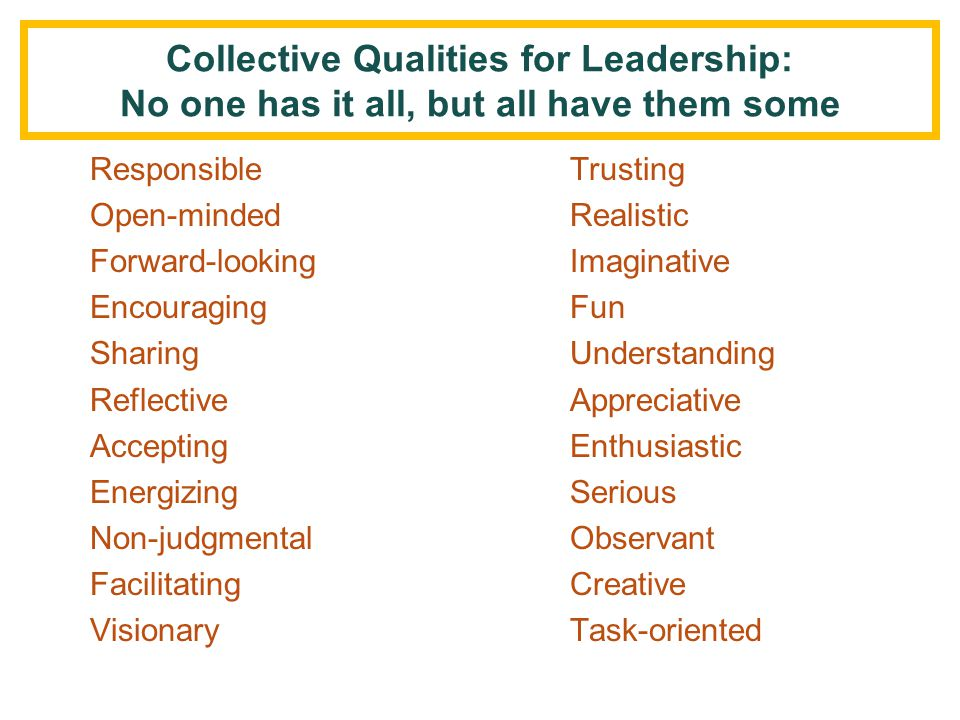 Collective Qualities for Leadership: No one has it all, but all have them some
