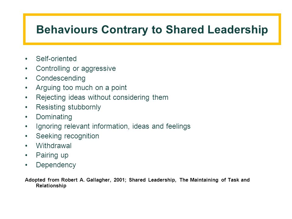Behaviours Contrary to Shared Leadership