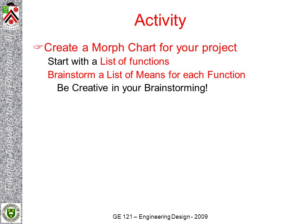 Activity Create a Morph Chart for your project