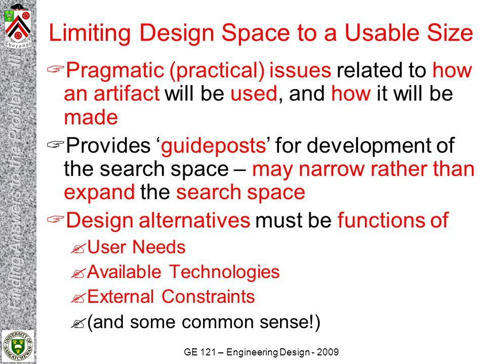 Limiting Design Space to a Usable Size