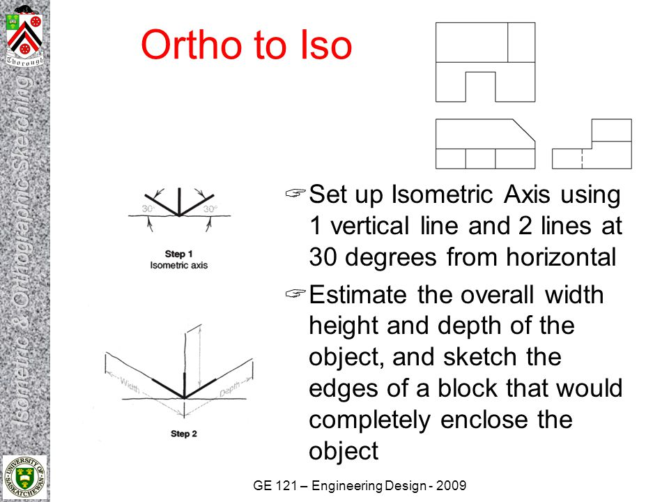 Ortho to Iso Set up Isometric Axis using 1 vertical line and 2 lines at 30 degrees from horizontal.
