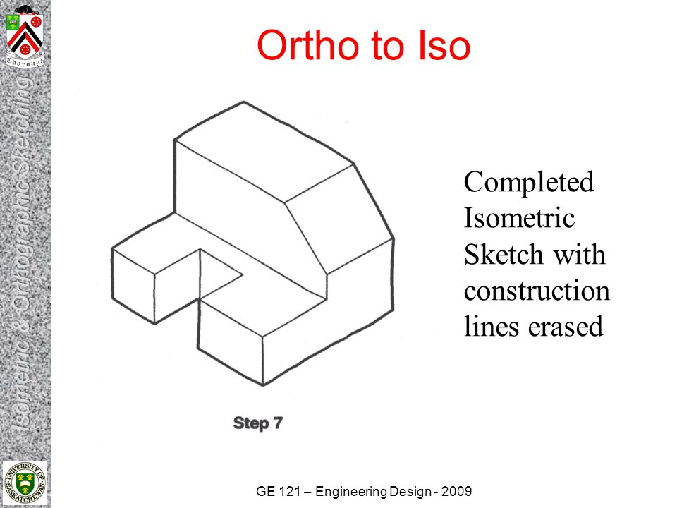 Ortho to Iso Completed Isometric Sketch with construction lines erased