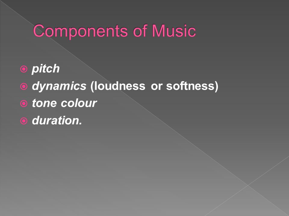 Components of Music pitch dynamics (loudness or softness) tone colour