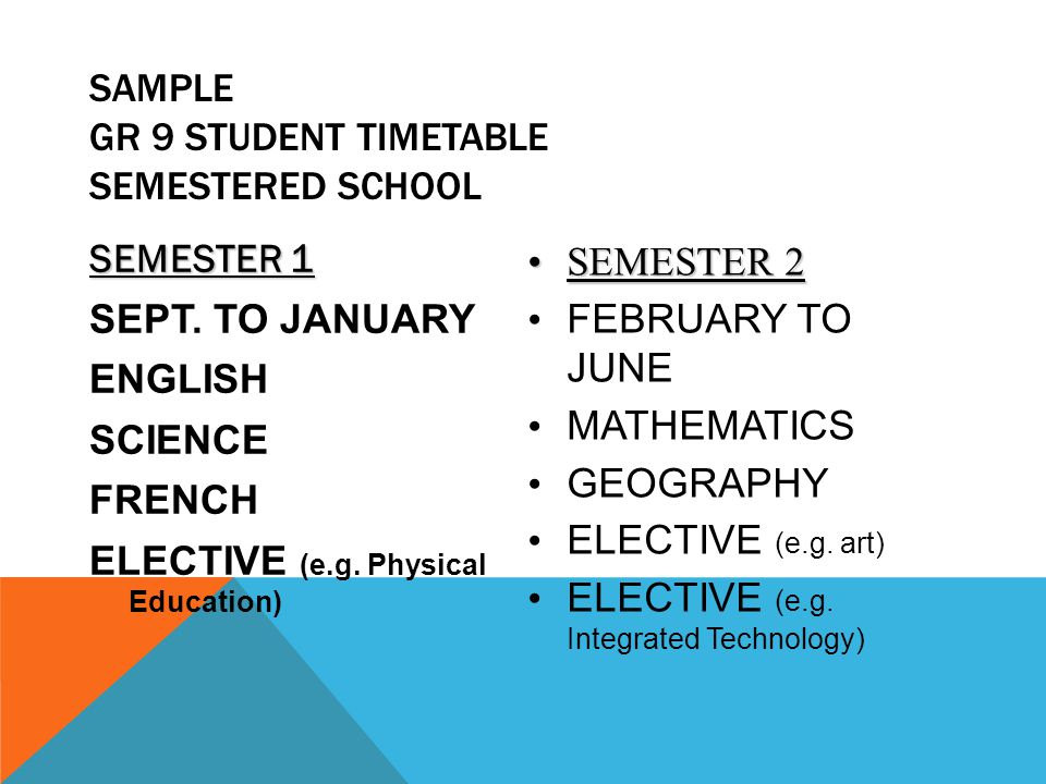 SAMPLE GR 9 STUDENT TIMETABLE Semestered School