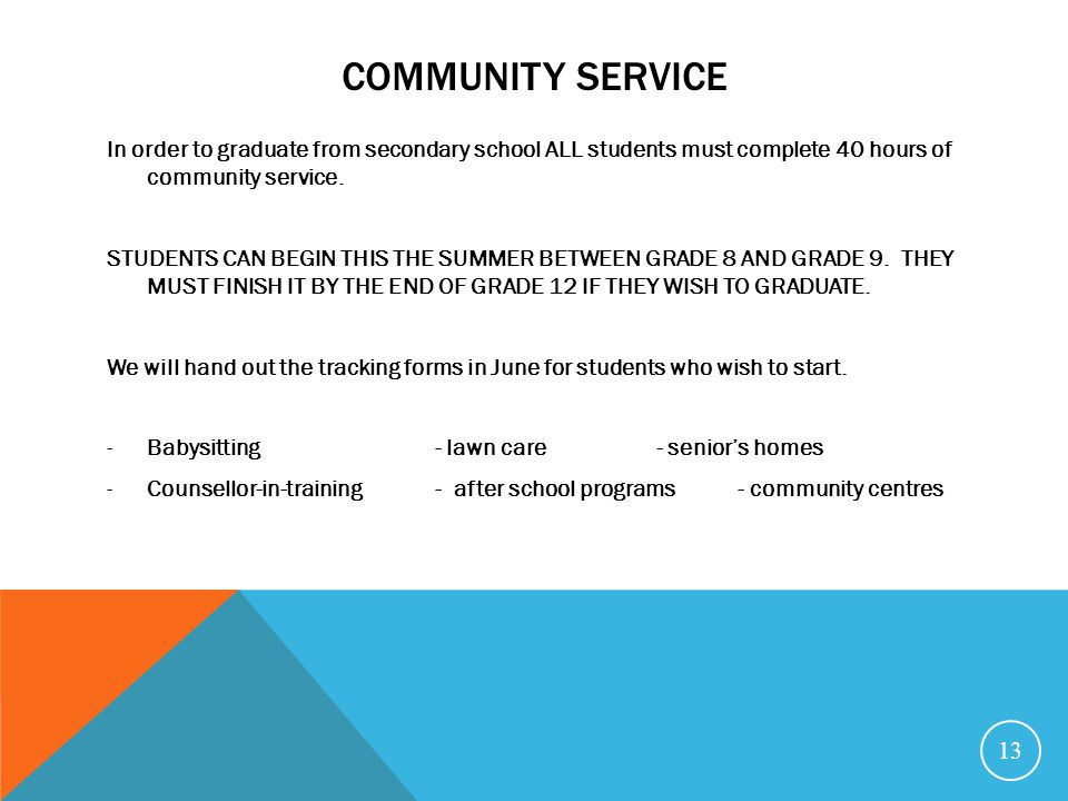 COMMUNITY SERVICE In order to graduate from secondary school ALL students must complete 40 hours of community service.