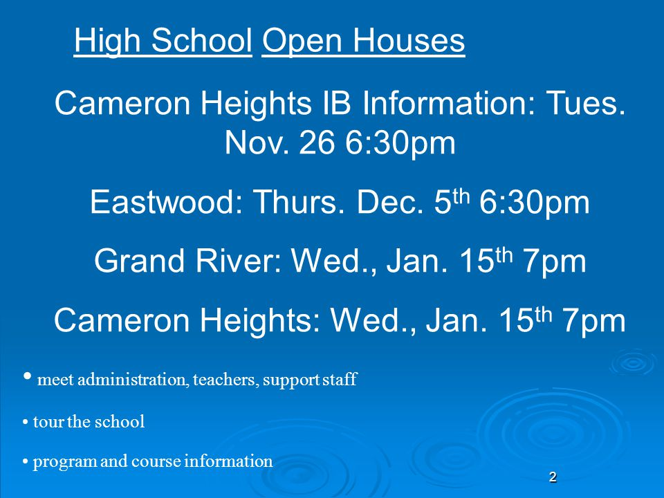 Cameron Heights IB Information: Tues. Nov. 26 6:30pm