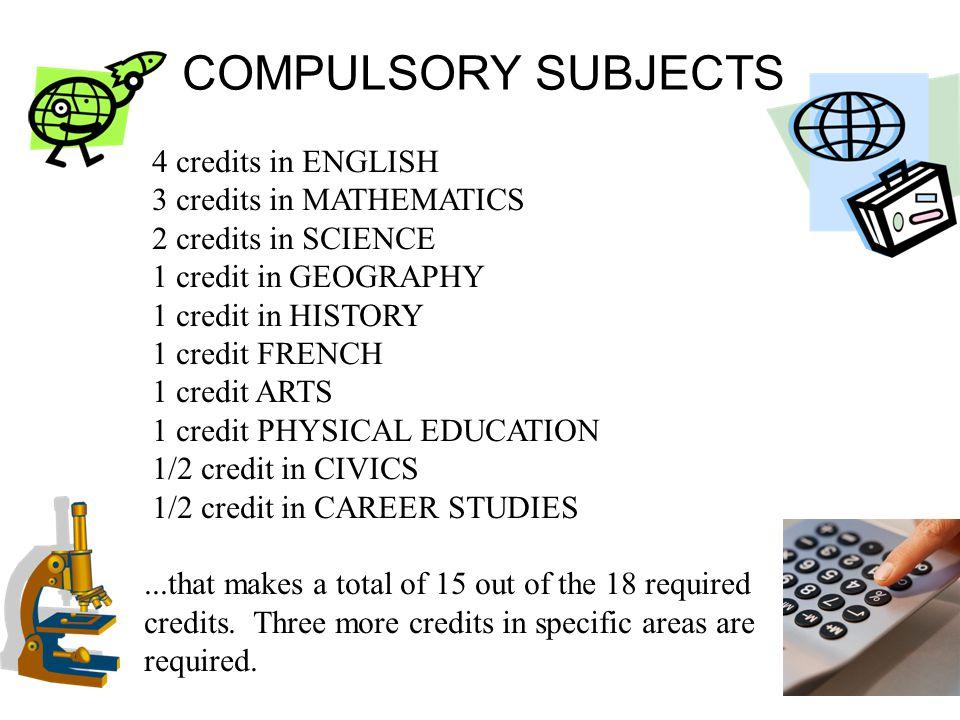 COMPULSORY SUBJECTS 4 credits in ENGLISH 3 credits in MATHEMATICS