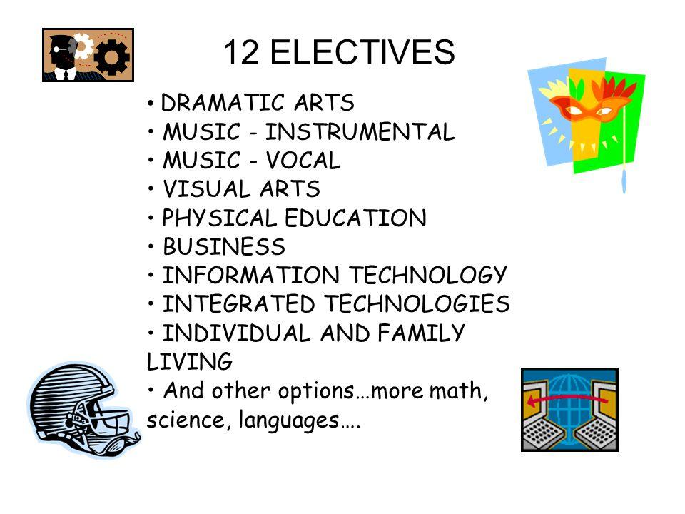 12 ELECTIVES DRAMATIC ARTS MUSIC - INSTRUMENTAL MUSIC - VOCAL