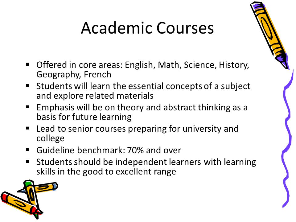 Academic Courses Offered in core areas: English, Math, Science, History, Geography, French.