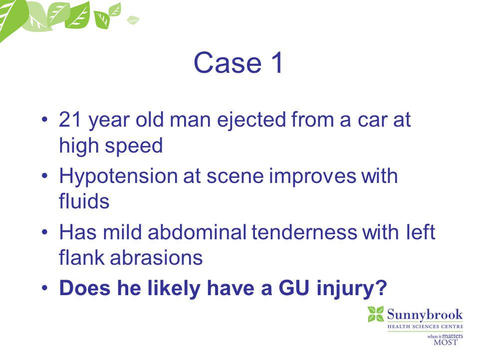 Case 1 21 year old man ejected from a car at high speed