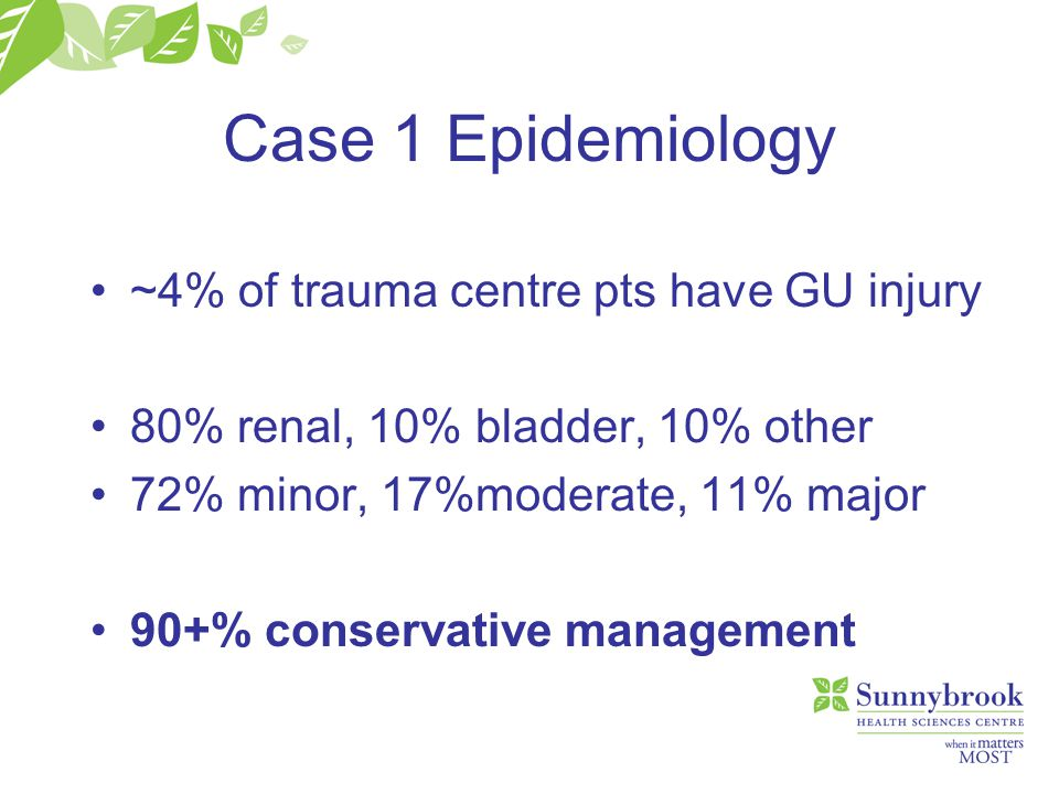 Case 1 Epidemiology ~4% of trauma centre pts have GU injury