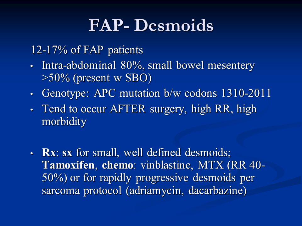 FAP- Desmoids 12-17% of FAP patients