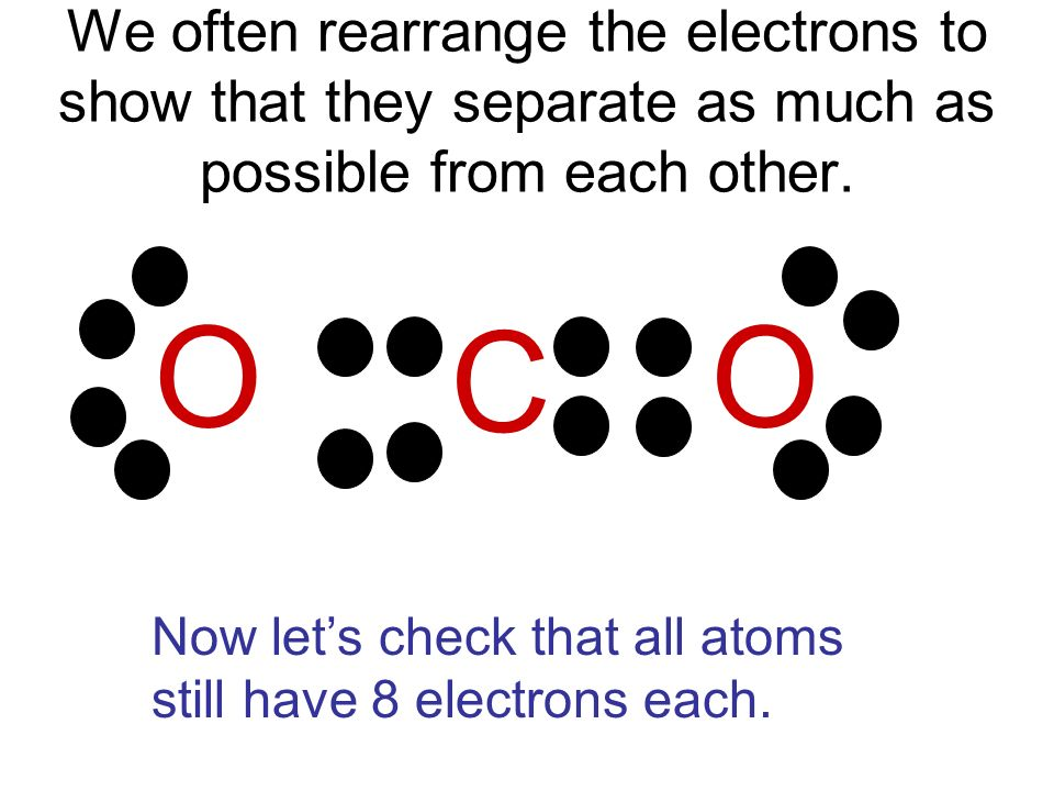 We often rearrange the electrons to show that they separate as much as possible from each other.