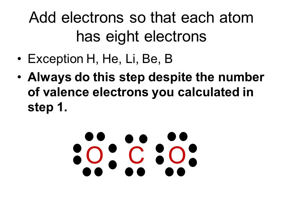 Add electrons so that each atom has eight electrons