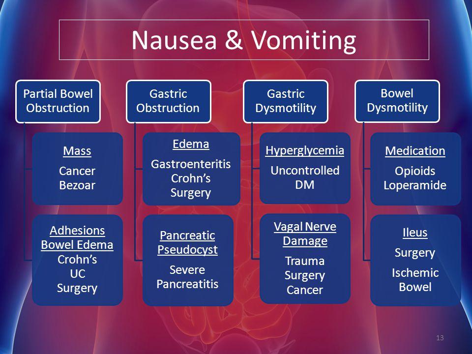 Nausea & Vomiting Partial Bowel Obstruction Mass Cancer Bezoar